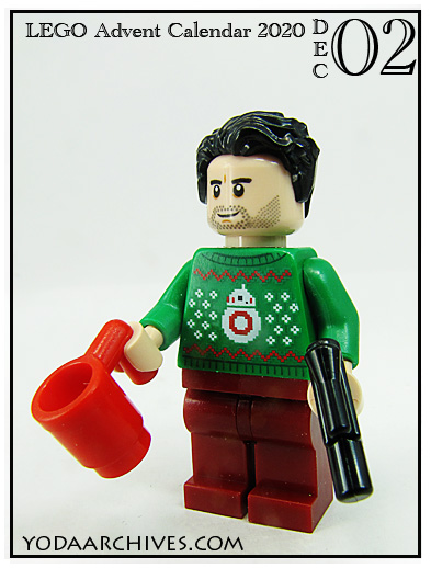 LEGO Poe Dameron in an ugly christmas sweater. The sweater is green with an 8-bit image of BB-8.