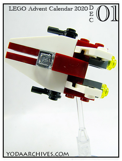 LEGO mini build of an A-wing star fighter.