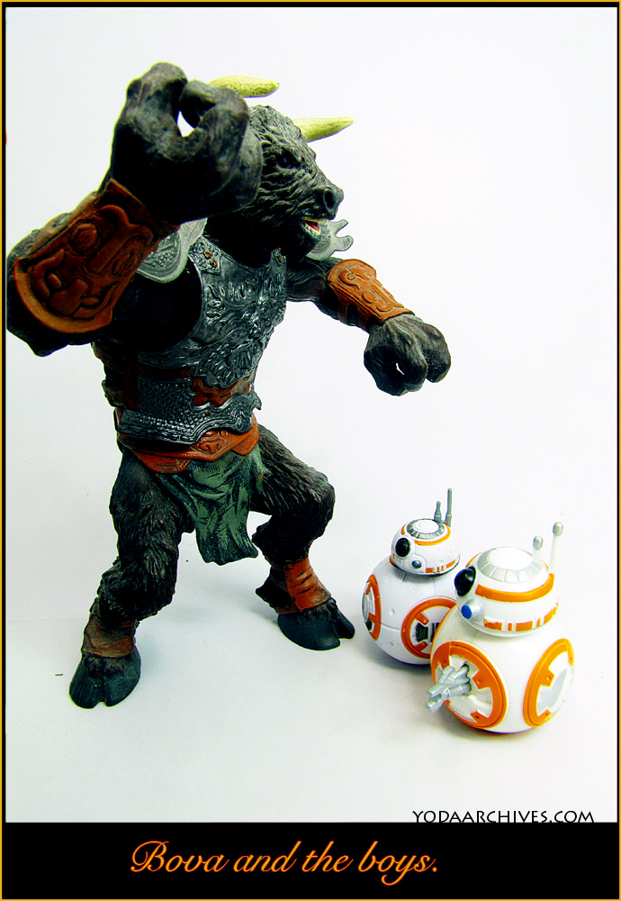 a minotaur  watches two bb-8 droids. text says bova the babysitter.