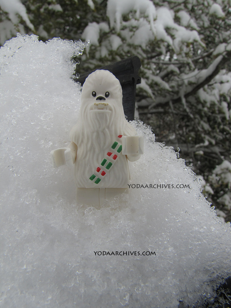 snowman of Chewbacca the Wookie. This LEGO inigiure is from a star wars advent calendar.
