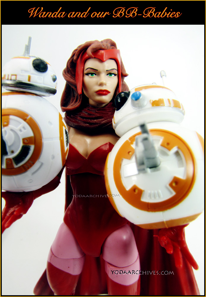 """Scarlet witch holding two BB-8 figures as if they were babies. Text reads """"Wanda and the BB-Babies."""""""
