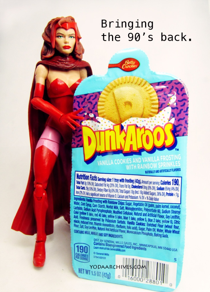 scarlet witch and some dunaroos cookies.