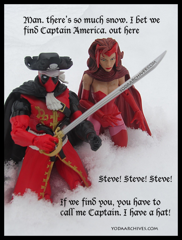 deapool and wanda walking in snow. Deadpool say. So much snow I bet we find captain america here. Steve if we find you you have to callme captain. I have a pirate hat.