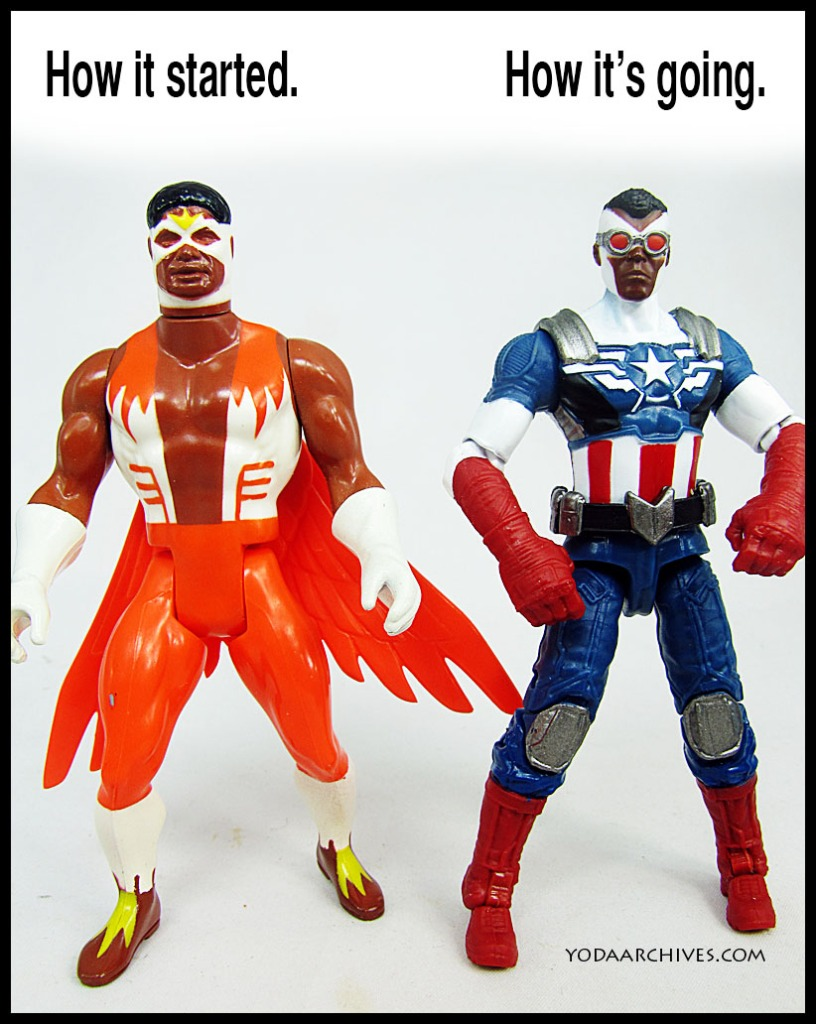 """Two action figure standing next to one another. They are facing forward. One is sam wilson as the Falcon. Above his head test reads """"how it started""""  Next to that text says how it's going. and Sam Wilson is dress in the new Captain America uniform."""