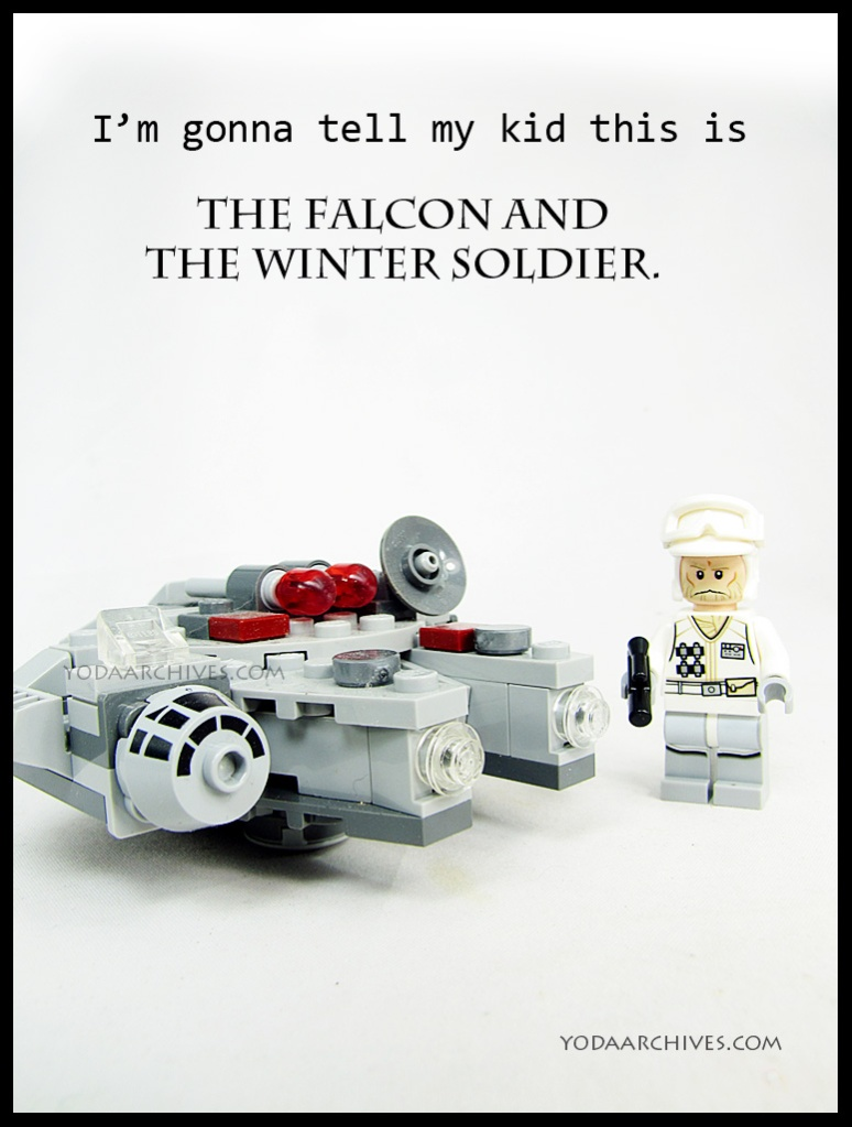 "text reads ""I'm gonna tell my  kids this is the falcon and winter soldier.""  But picture is millennium Falcon and an hoth Rebel solider."