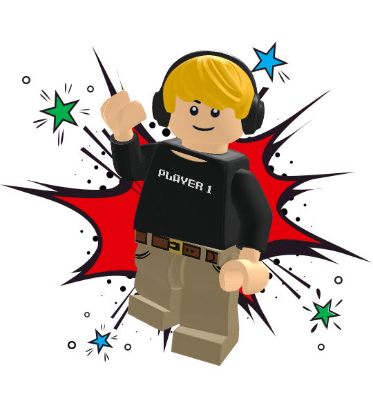 """LEGO minifigure with shirt that says """"Player 1"""". He's wearing headphones."""
