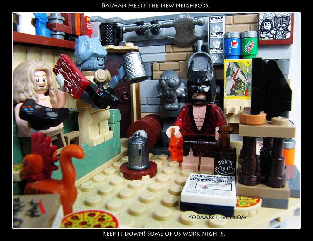 """LEGO Batman in LEGO Thor's messy apartment. Batman is wearing a smoking jacket.Thor and Korg are playing video games. Batman says """"Keep it down some of us work nights."""""""